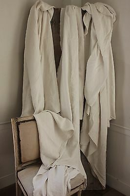 Antique homespun French linen sheets 3 MATCHING upholstery fabric 12.5 POUNDS
