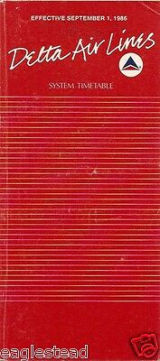 Airline Timetable - Delta - 01/09/86