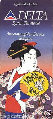Airline Timetable - Delta - 02/03/91 - New Service to Japan