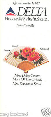 Airline Timetable - Delta - 15/12/87 - New Service to Seoul