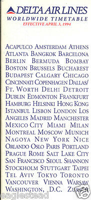 Airline Timetable - Delta - 03/04/94