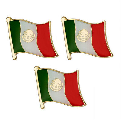 """LOT OF 3 MEXICO FLAG LAPEL PIN 0.5"""" Mexican NEW Small Pinback Hat Tie Badge"""