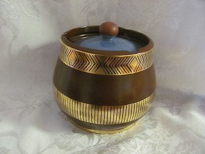 Crown Devon Memphis by Colin Melbourne lidded Humidor pot brown gold blue 1960's