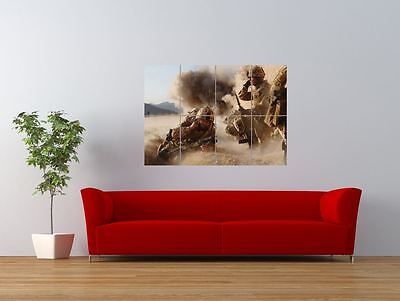 Army Soldiers Desert Action Combat Giant Art Print Panel Poster Nor0051