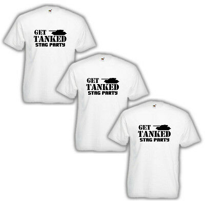 3 PACK of GET TANKED! White T-Shirts boys party lads stag weekend bachelor NEW