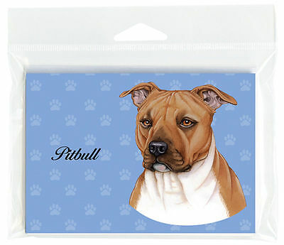 Pitbull Dog Note Cards Set of 8 with Envelopes Brown Uncropped