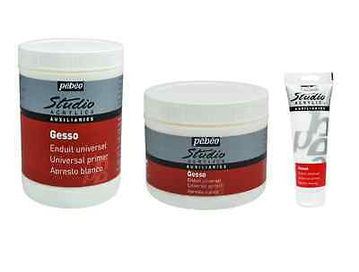 Pebeo Studio White Gesso Artist Acrylic Or Oil Paint Primer Base Coat 3 Sizes