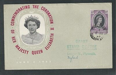 SIERRA LEONE # 194 ROYAL CORONATION QUEEN ELIZABETH II, 1953 First Day Cover