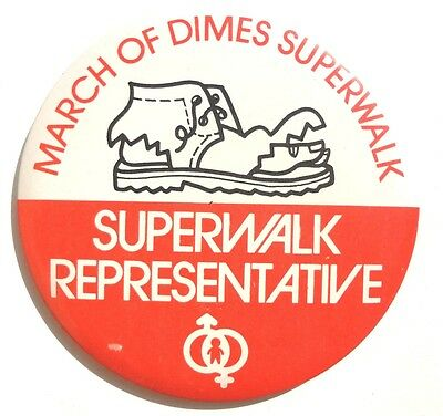 Vintage MARCH OF DIMES Superwalk Representative BUTTON PIN Badge PINBACK