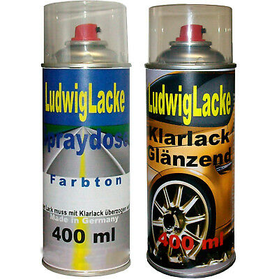 2 Spray im Set 1 Autolack 1 Klarlack 400ml FORD Sea Grey 9724 Basislack
