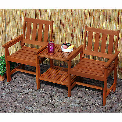 Hardwood Garden Patio Companion Set Love Seat Two Chairs Table Tete-a-Tete Bench