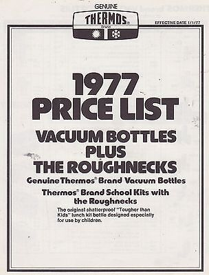 #MISC-0232 - 1977 THERMOS vacuum bottle and lunch box CATALOG PRICE LIST