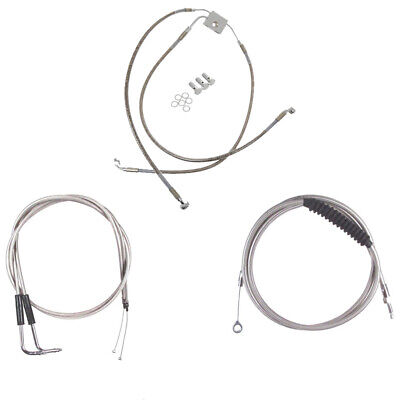 """Stainless +6"""" Cable & Brake Line Bsc DD Kit 2012-2017 Harley-Davidson Dyna w/ABS"""