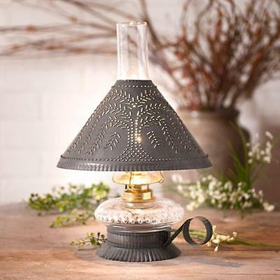 primitive new smaller blacken TIN table lamp w/punched WILLOW shade /NICE