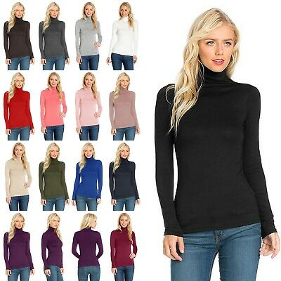 S M L Women's Long Sleeve TURTLE NECK MOCK NECK Top Soft Stretchy Rayon Spandex