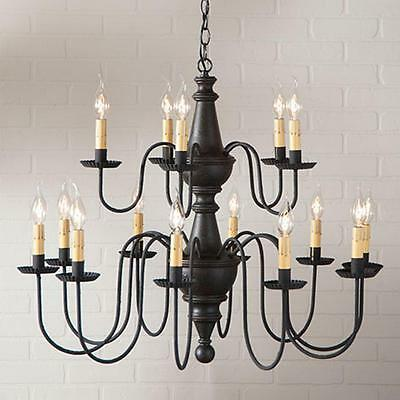 Country new large 2 tier 15 arm large BLACK finish wood chandelier / FREE SHIP