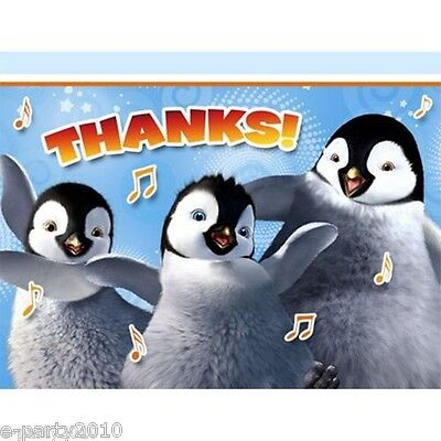 HAPPY FEET TWO THANK YOU NOTES 8 Birthday Party Supplies Cards Thanks