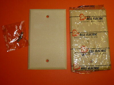 Nos! (2) Bell Electric Blank Ivory Crackle Single Gang Wall Plate,