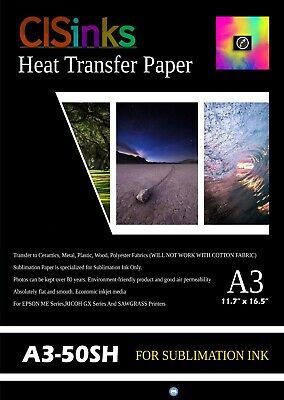 "50 Sheets Sublimation transfer paper suitable A3 (12""*16.5"") Heat Press Printing"