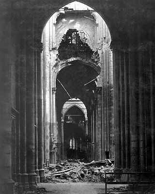 1918 MR Internal Ruins Cathedral of St. Quentin France 8x10 Photo