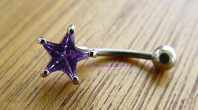 PURPLE STAR SURGICAL STEEL BELLY or NAVEL BAR BELL RING Wicca Witch Pagan Goth