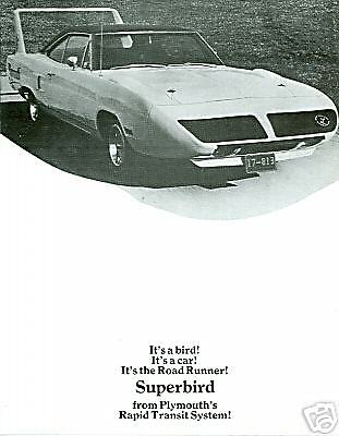 1970  Plymouth  Road Runner  Superbird  Sales Brochure