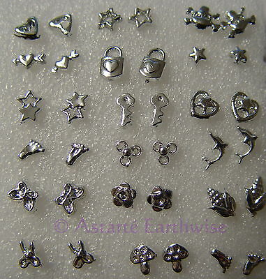 36 ASSORTED EARRING STUDS  Wicca Witch Pagan Goth  18 x PAIRS SILVER ALLOY METAL
