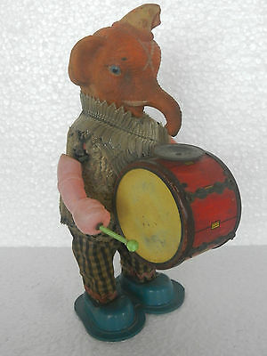 Vintage Elephant Playing Drum Textured Cloth Tin & Rubber Toy , Japan
