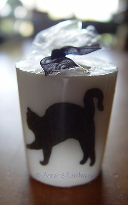 1 x BLACK CAT VOTIVE CANDLE a  50 mm Wicca Pagan Witch Goth