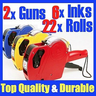 2 x Price Pricing Gun Labeller +22 Rolls Labels + 6 x Inks NG11