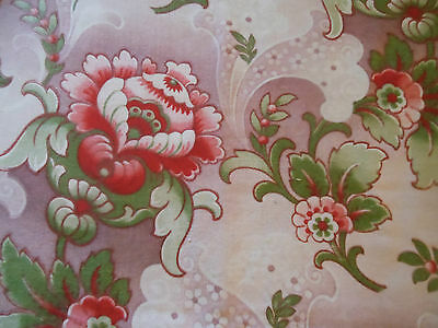 Antique French Art Nouveau Deco Floral Fabric ~ lavender strawberry red pink