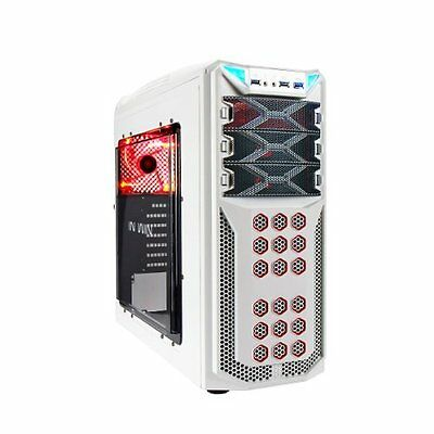 In Win GT1 White Midi Tower Gaming Case USB3 Toolless Red LED Fan : GT1 WHITE