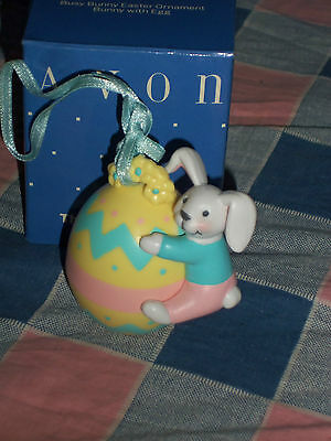 Avon Busy Bunny Easter Ornament Bunny with Egg