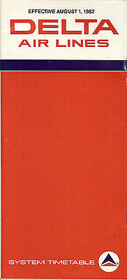 Airline Timetable - Delta - 01/08/82