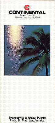 Airline Timetable - Continental - 16/12/88