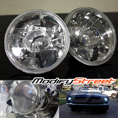 "7"" Round Glass Lens Diamond Crystal Projector Headlights Lamps"