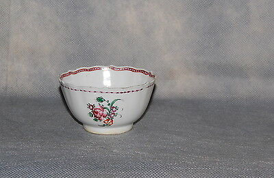 Chinese Export Porcelain Famille Rose Floral Insect Tea Cup Bowl Antique