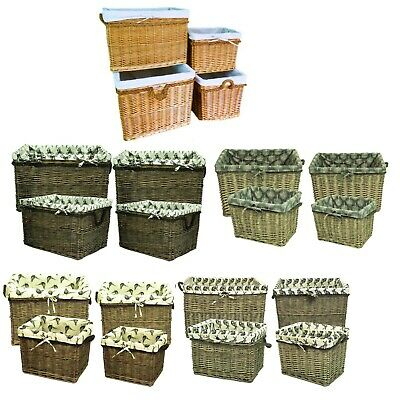 Giant Rectangular Wicker Storage Log Linen Laundry Basket with Rope Handle