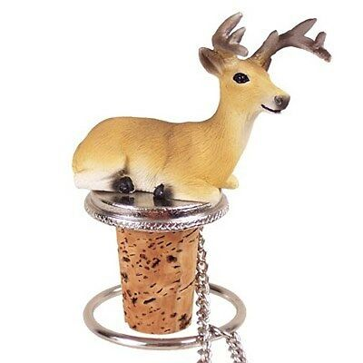 Deer Buck Hand Painted Resin Figurine Wine Bottle Stopper