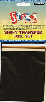 10 Sheets Transfer Foils Earth Tone Colours Shiny Brown Cream Copper White Black