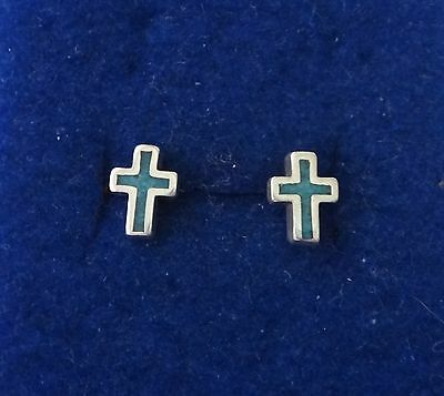 10% off Sterling Silver TINY 9x7mm Turquoise Inlaid Cross Stud Studs Earrings