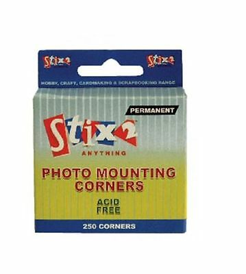 250 Photo Mounting Corners Acid Free Permanent Album Scrapbook Adhesive S57072