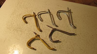 5 Antique Bent Wire Coat Hooks   #11