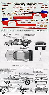 Dyno Don 70 Mustang & 61 Chevy NHRA Drag Decals 1305