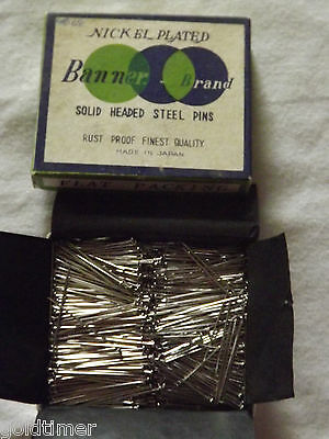 Vintage Sewing 1960S Nickel Plated Banner Brand Solid Headed Steel Pins Nos