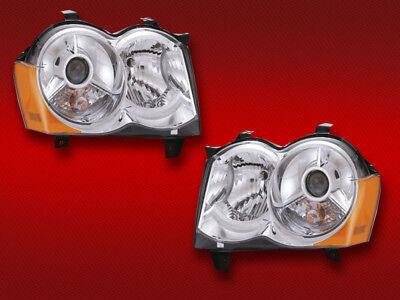 NEW 08-10 JEEP GRAND CHEROKEE HID WITHOUT HID KIT HEADLIGHTS HEADLAMPS PAIR NEW