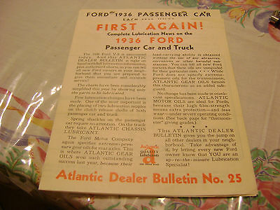 Complete Lubrication News on the 1936 FORD Passesnger Car and Truck Bulletin