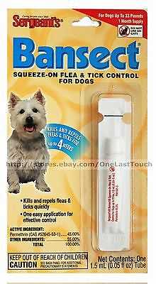 Sergeant's BANSECT Squeeze-on FLEA & TICK CONTROL For Dogs UP TO 33 lbs NEW!