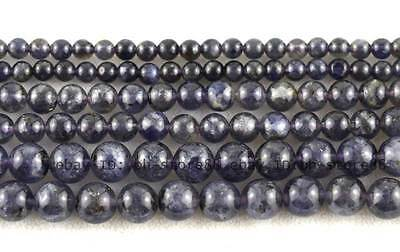 4、6、8mm AA Natural Iolite Round Gemstone Beads 15.5'' Very High quality