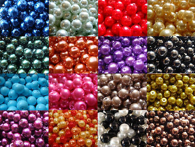 ROUND GLASS PEARL BEADS 200 x 4MM 150 x 6MM 100 x 8MM